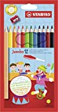 Dicker Buntstift - STABILO Jumbo - 12er Pack - 12 Farben - mit Spitzer