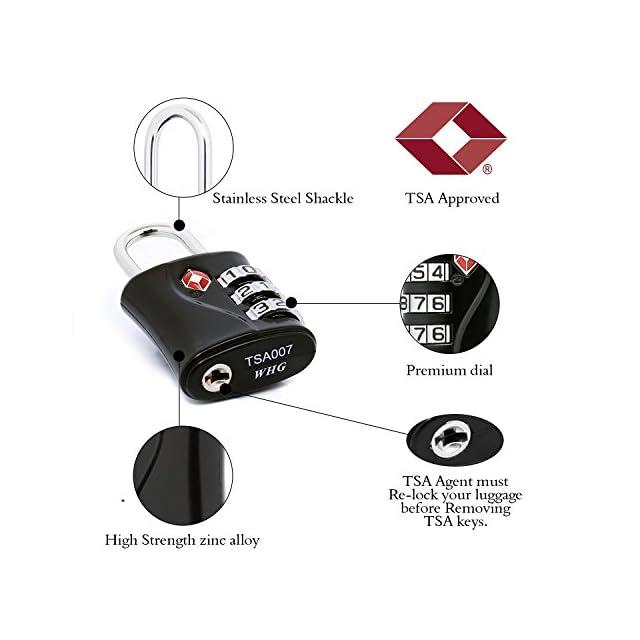 AspenSport 2 x TSA Cadenas 3-nombre Combinaison Voyage Valise bagages Code de sac Lock ( Noir ) - GARANTIE À VIE avec Câble de Sécurité 100cm