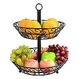 Obstkorb zum Hängen Etagere Metall Obstschale 2 Eatgen für Obst und Gemüse