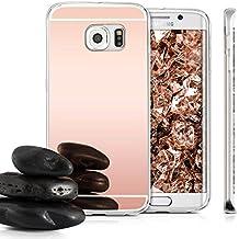 Semoss Premium Espejo Funda Silicona Carcasa Case para Samsung Galaxy S6 G920 Ultra Thin Mirror Efecto TPU Bumper Hardcase Shell Cover - Rose