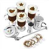 Irish Coffee-Servier-Set, mit 4 Gläsern, 16 Kaffeeschablonen, Barmaß, Mischlöffel, Shaker mit Schraubverschluss