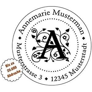 Monogramm-Stempel mit Adresse, Stempel mit Motiven, Adress-Stempel personalisiert rund 40 mm, selbstfärbend mit integriertem Stempelkissen, Initial-Stempel, Buchstaben von A-Z wählbar.