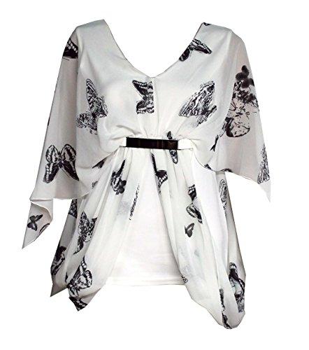 Mix lot Ladies, Frauen reizvolle Schwarzweiss-Schmetterlings-Druck Chiffon Overlay Metall Mock Gürtel Top Größen: 36-50 - White Butterfly