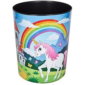 Läufer 26664 Motiv-Papierkorb Einhorn, 13 Liter Mülleimer, perfekt für das Kinderzimmer, rund, stabiler Kunststoff