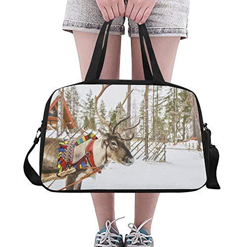Zemivs Christmas Deer Celebration Große Yoga Gym Totes Fitness Handtaschen Reise Seesäcke Schultergurt Schuhbeutel für die Übung Sport Gepäck für Mädchen Männer Womens Outdoor - Coach Womens Hobo