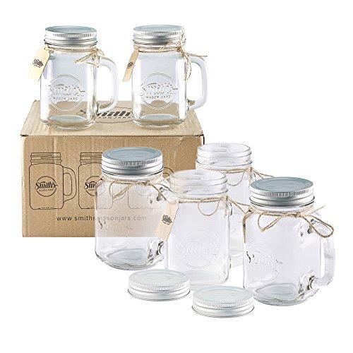Smith Mason tarros de 6x, Mason Jar tazas con tapa de rosca con junta de goma, making hermético y filtraciones de agua, también ideal para hacer de la noche la avena