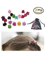 Pinces à Cheveux Fleur de Plusieurs Couleurs pour Bébé Filles-Lot de 30 Mini Griffes à Cheveux
