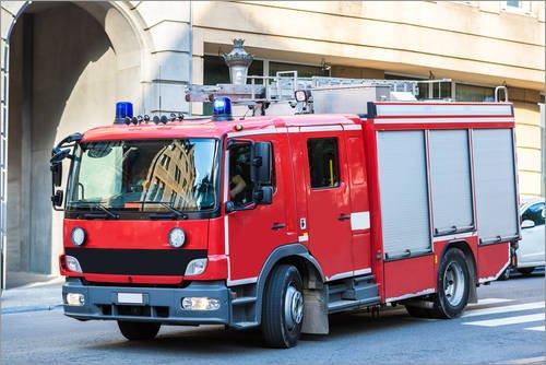 Stampa su acrilico 90 x 60 cm: Fire truck in action di Colourbox