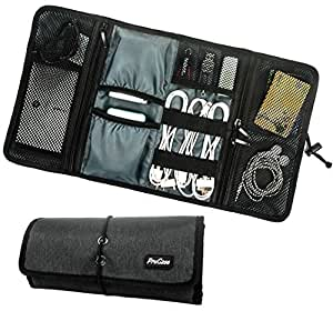 ProCase Travel Gear Organizer, Electronics Accessories Organize Bag, Cable Management Travel Carry Case, Healthcare Kit and Cosmetics Bag (Black)