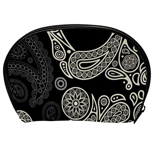Universal Roomy Handbag Case Makeup Cosmetic Beauty Storage Bags,Facial Cleanser Skincare Kit Pouch Skull Paisley Print,Portable Electronics Accessories Organizer -