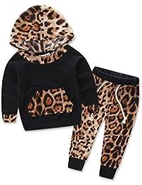 SMARTLADY - Bebé Niña Niño Sudaderas con Capucha de Leopardo Impresión Moda + Pantalones Largos