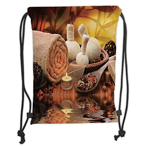 LULUZXOA Gym Bag Printed Drawstring Sack Backpacks Bags,Spa Decor,Outdoor Spa Massage Setting at Sunset with Candlelight Reflections Culture, Soft Satin,The Stylish Ba