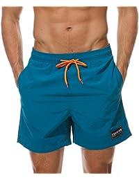 MODCHOK Herren Badeshorts Strandhosen Kurze Hosen Sommerhosen Drucken mit Kordelzug Schnelltrocknend