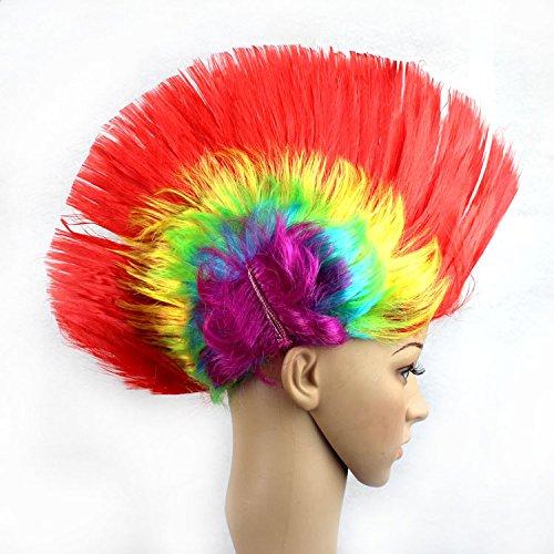 Punk Kostüm Rocker Mädchen - QULiang Bunten Spikey Mohawk Perücken für Partys Punk Perücke Haarteil Perücke Regenbogen Geburtstag und Spartaner Faschings-Kostüm Wettbewerb Frauen, Mädchen und Jungen