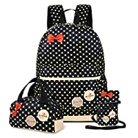 School Backpacks for Kids Girls Cute Dot 3 Sets Kids Book Bag School Backpack Handbag Purse Lightweight Waterproof Canvas Versatile Backpack