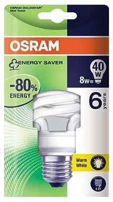 Osram 63157B1 Duluxstar Mini Twist E27 mini Energiesparlampe in gedrehter Form 8W/827, warmweiß von Osram auf Lampenhans.de