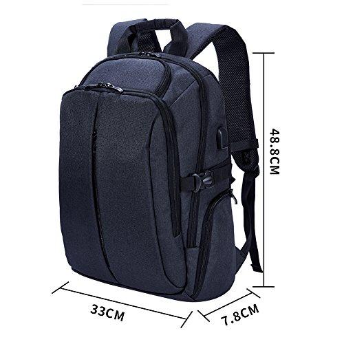 Imagen de  daypack con carga usb pot, casual   portátil bolsa con 17pulgadas negro para la escuela, negocios, viajes negro negro alternativa