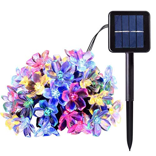 Solar Christmas String Lights 33ft 100 LED Cherry Blossom Flower Starry Fairy Lights Decorative Lighting for Garden Patio Tree Party Bedroom Xmas Decorations Indoor and Outdoor-Colorful
