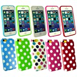 Emartbuy ® Apple Iphone 5c Bundle Pack of 5 Polka Dots Gel Skin Cover / Schutzhülle Hot Pink / Weiß, Rot / Weiß, Blau / Weiß, Grün / Weiß & Multi-Coloured