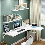 Parete Pieghevole Tavolo, Galleggiare MDF Corner Table & Ripiani Set di 3, Haning Heavy Duty Tabella Desk Facile Installazione (Colore : Bianca, Taglia : 80×60×35cm)