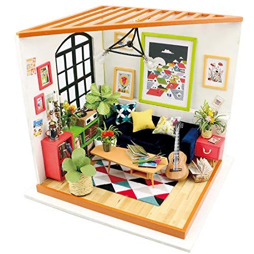 MAJOZ DIY Dollhouse en Bois Kits - Kit de Construction de Maison en Bois - Fait Main Maisons de poupées Construction de la Maison Décoration Cadeau De Noël pour Adulte et Enfants (Salon)