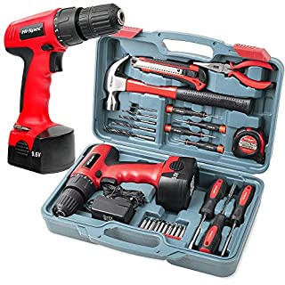 Complete Power and Hand Tool Kit with Drill Driver, Hi-Spec DT30320, 9.6V 1200mAh Cordless Drill Electric Screwdriver and Tool Set for Household DIY, 26 Pieces