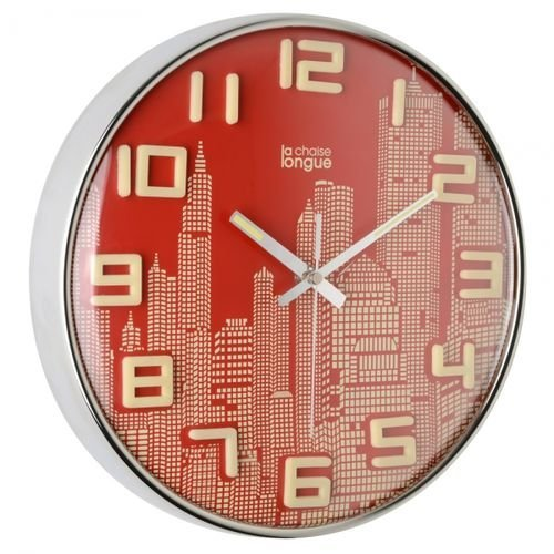 Horloge murale Manhattan Rouge