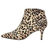 EKS Damen Stiefeletten Block Mid High Heel 6CM Wildleder Damen Casual Sexy Party Booties Leopard 40.5 EU