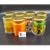 Satyam Kraft (Pack Of 8)Hexagon Glass Jar And Container(220 ml) With Rust Proof Air Tight Lid