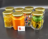 #8: Satyam Kraft (Pack of 8)Hexagon Glass Jar and Container(220 ml) with Rust Proof Air Tight Lid ,suitable to use in your home office ,kitchen storage /glass jars set /glass jars for kitchen /glass jar containers /glass jar for gift /glass jar and containers for storage /glass jar for storage /glass jar for spices /glass jar pickle/ jars for jam/mason glass jar without hole/mason jars without handle
