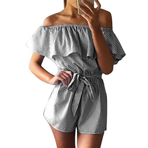 WOCACHI Damen Sommer Jumpsuits Frauen Art und Weise weg vom Schulter Streifen Muster Bowknot Bodysuit Overall Playsuit Blau (L/36, (White Queen Size Plus Kostüm)