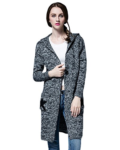 OU GRID -  Cardigan  - Maniche lunghe  - Donna Gray XXXX-Large
