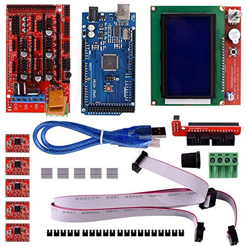 Robocraze 3D Printer DIY Kit with Arduino Mega 2560, Ramps1.4 Shield, A4988 with Heat Sink, 12864 Smart Lcd and Usb Cable