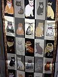 Schwarz glänzende Katze Schal mit einem quadratischen Design und Multi farbigen Katzen (Black shiny cat scarf with a square design and multi coloured cats)