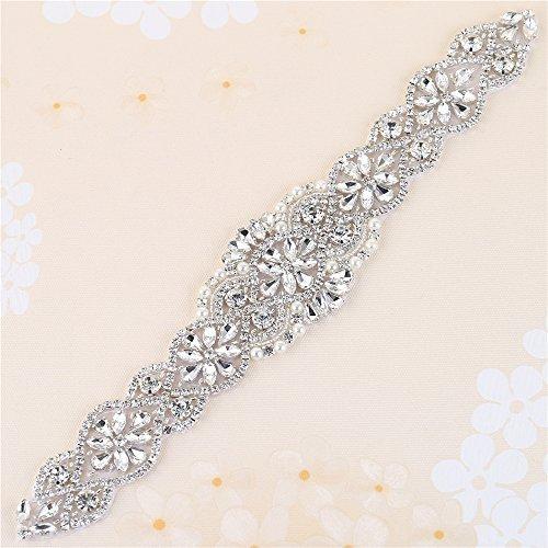 Cinturón de Diamantes Correa de la Boda para el Vestido de Fiesta de Noche de las Mujeres   Plata