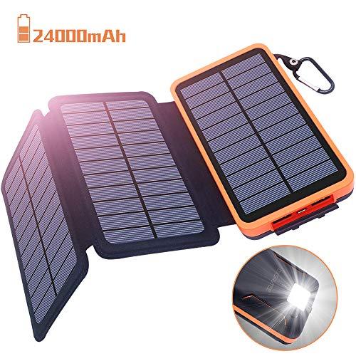 Powerbank Solar Externer Akku 24000mAh Solar Ladegerät mit 3 Solar Panels Dual USB 2.1A, Notfall-Energie mit LED-Licht & Haken für iPhone,Samsung,iPad,und andere Smartphones/Handys, Wasserdicht Dual Strobe