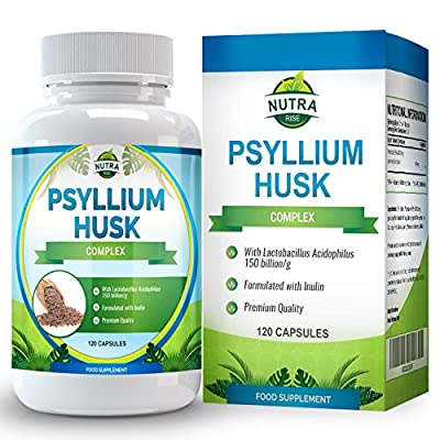 Psyllium Husk, Fiber Supplement, With Probiotic, Natural Laxative that Promotes Bowel Regularity, Supports Weight Loss, 500mg - 120 Capsules from Nutra Rise