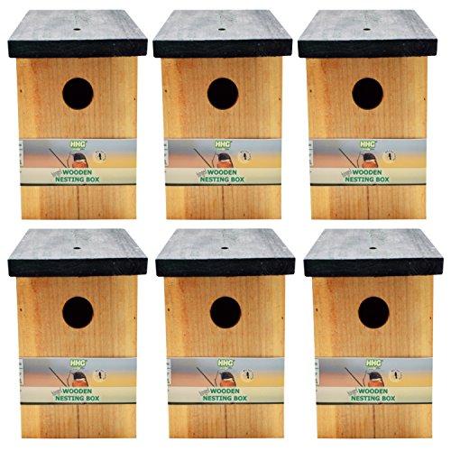 Handy Home and Garden 6 x Druckbehandelter Hölzerner Wildvogelhaus-Standardholz-Nistkasten HHGBF017 - Natürliche Vogelnistkästen