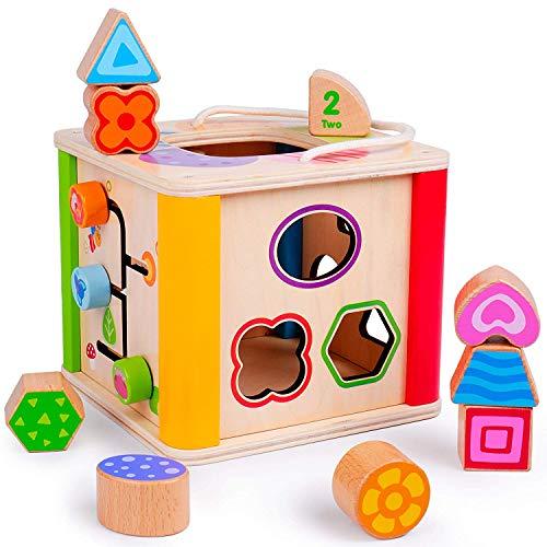 Rolimate Motorikwürfel Holz, Holzspielzeug Lernspielzeug Würfel Spielzeug Aktivitätswürfel Beste Weihnachten Geburtstag Geschenk Für Pre-Kindergarten Kleinkinder Baby Kinder 1 2 3 Jahre