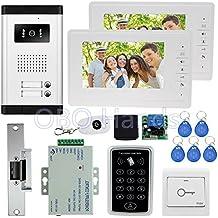7 '' con cable kit de videoportero con camara de infrarrojos + control de acceso RFID teclado + Keys + 2 monitores + EM Lock para sistema de intercomunicacion en venta