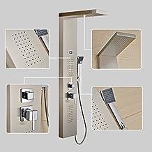Sistema de ducha Auralum® 4 in 1 Panel Columna Ducha de hidromasaje en acero 4 función Set ducha con alcachofa fijas ducha lluvia + ABS Alcachofas móviles ducha mango conjunto ducha
