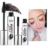 Nicebelle DDK 4D - Máscara de maquillaje, impermeable, color negro, extensiones de pestañas, estilo loco y largo, máscara lavable con agua caliente