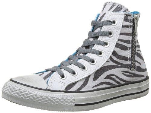 Converse, All Star Hi Side Zip Canvas, Sneaker, Unisex - adulto Oyster Gray/Castlerock Zebra D