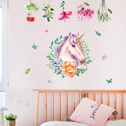 Einhorn Kranz Aufkleber Themen Kinderzimmer Party dekorative Hintergrund Wand selbstklebende Wandpaste