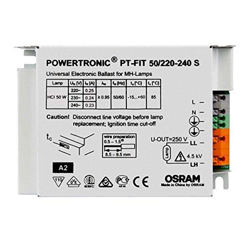 Elektronisches Vorschaltgerät Metalldampflampen (OSRAM PT-Fit EVG Vorschaltgerät für 50 Watt CDM HCI HQI HID Powertronic 50W)