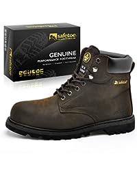 Botas de Seguridad Industriales para Hombres - SAFETOE 8179 Zapatos de Trabajo Elegantes con Punta de
