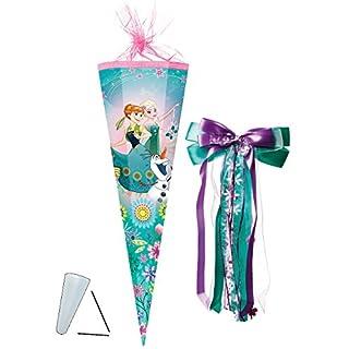 alles-meine.de GmbH Schultüte -  Disney die Eiskönigin - Frozen  - 85 cm - eckig - incl. große Schleife - Tüllabschluß - Zuckertüte - mit / ohne Kunststoff Spitze - für Mädchen..