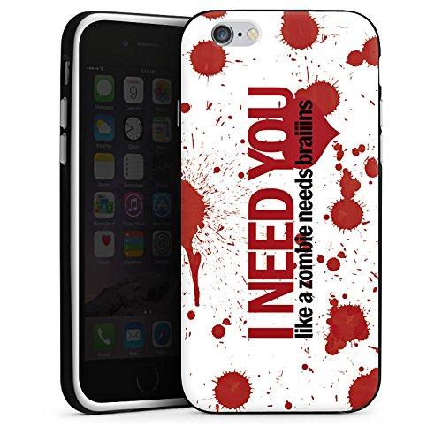 Apple iPhone 4 Housse Étui Silicone Coque Protection Love Zombie Phrases Motif Housse en silicone noir / blanc