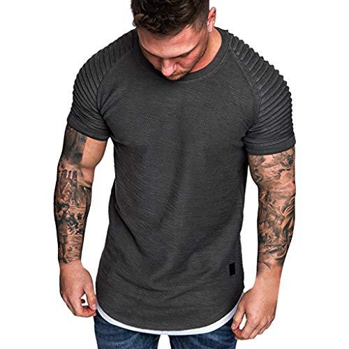 Beonzale Sommer 2019 Neueste Herren Pullover T-Shirts Slim Fit Männer Casual Falten Raglan Kurzarm Muster Mode Top Bluse -