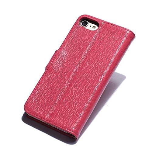 KaiTelin Apple iPhone 7 Plus Hülle - Qualitäts Lederholster 2 Kartenslot Brieftasche Stil Stent Funktion Schutzhülle für Apple iPhone 7 Plus - Schwarz Rose